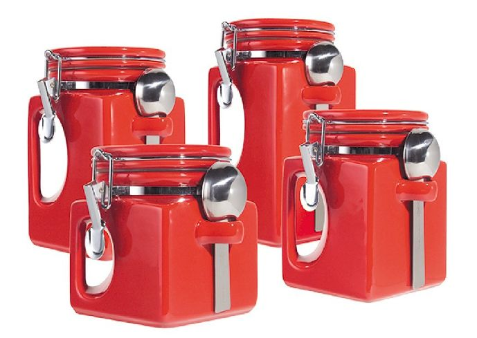 red kitchen canisters ceramic how are you in choosing retro kitchen accessories 21439